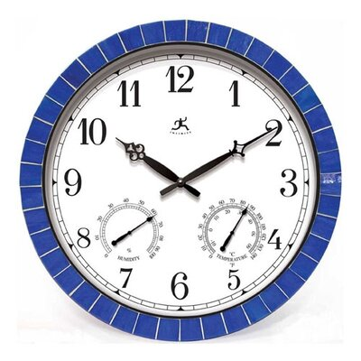 "Infinity Instruments Indoor/Outdoor 18""  Weather Clock With Blue Tile Border"