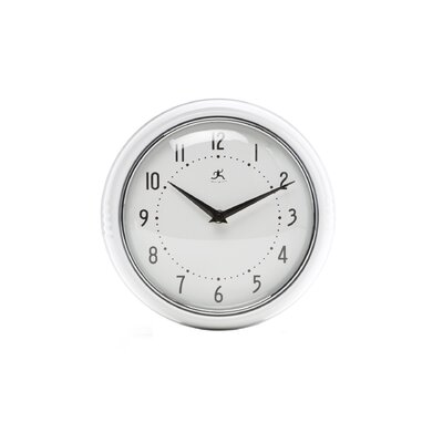 Infinity Instruments Retro Round Metal Wall Clock In White