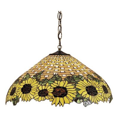 Wicker 3 Light Sunflower Pendant