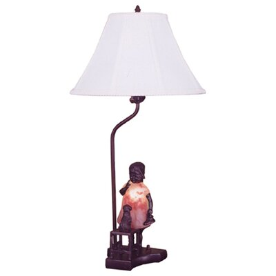 Meyda Tiffany Silhouette Girl with Kitten Accent Table Lamp