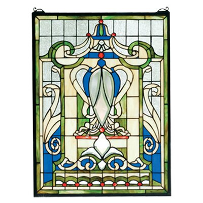 Meyda Tiffany Victorian Nouveau Royal Blue Windsor Stained Glass Window