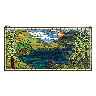 Meyda Tiffany Lodge Tiffany Floral Sunset Meadow Stained Glass Window