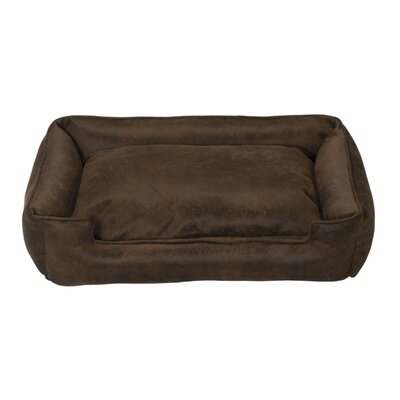 Faux Leather Lounge Dog Bed in Cognac