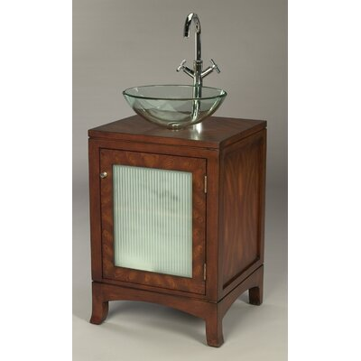 AA Importing One Door Bathroom Vanity with Vessel Sink in Distressed Brown