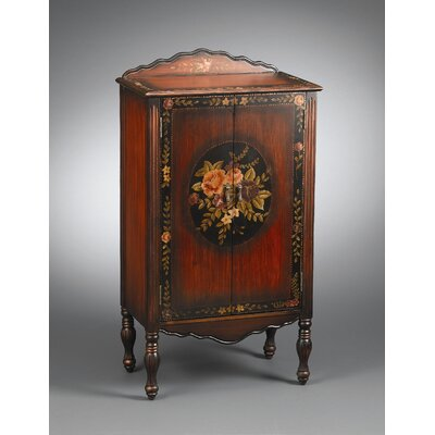 AA Importing Cabinet with Painted Floral Design in Medium Brown