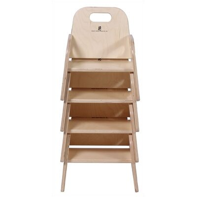"Steffy Wood Products 7"" Wood Classroom Toddler Stackable Chair with Strap"
