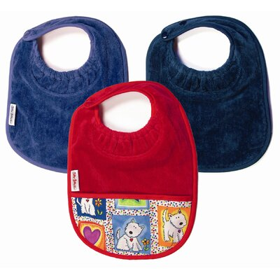 Silly Billyz Boy Bibs 3 Pack in Teal and  Navy Plain, and Red with Pocket
