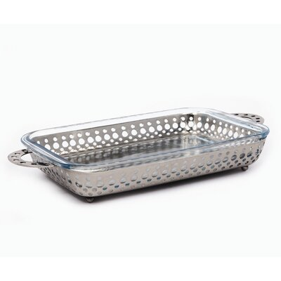 Nickel Crown Rectangular Server with 3 Qt. Baker