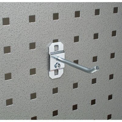 Triton Products LocHook 4 In. Single Rod 30 Degree Bend 3/16 In. Dia. Zinc Plated Steel Pegboard Hook for LocBoard, 5 Pack