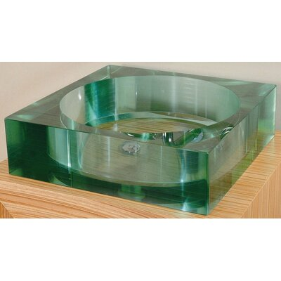 Xylem Segment Square Glass Vessel Bathroom Sink