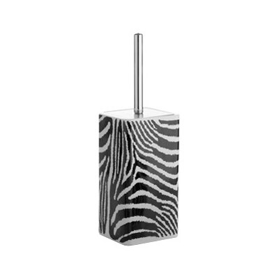 Gedy by Nameeks Safari Toilet Brush Holder in Black and White Zebra Print