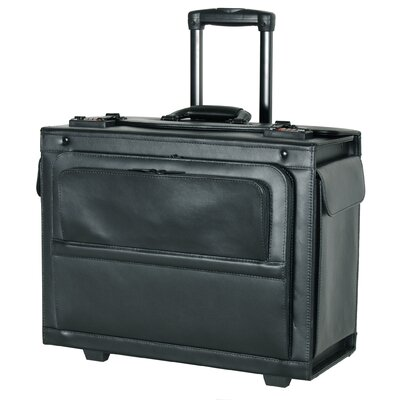 "Netpack 14"" Leather Hardsided Rolling Laptop Catalog Case"