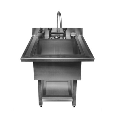 "Julien UrbanEdge 34"" x 33"" Pedestal Stainless Steel Single Bowl Utility Sink"