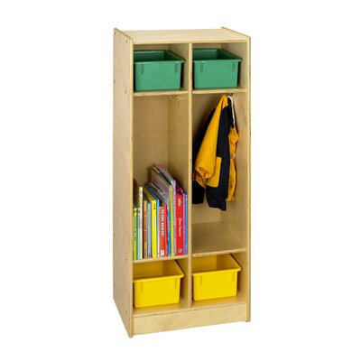 A&E Wood Designs Cubbie Two Bay Coat Locker in Natural