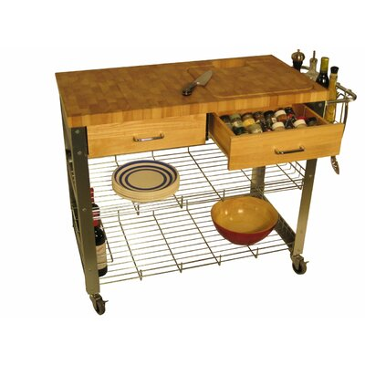 Chris & Chris Stadium Kitchen Cart with Wood Top