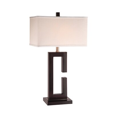 Anthony California Metal Table Lamp in Capuccino with Wood Accent