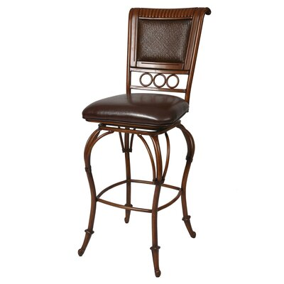 "Pastel Furniture Rio Branco Umber 30"" Bar Stool w/ Stallion Brown Vinyl"