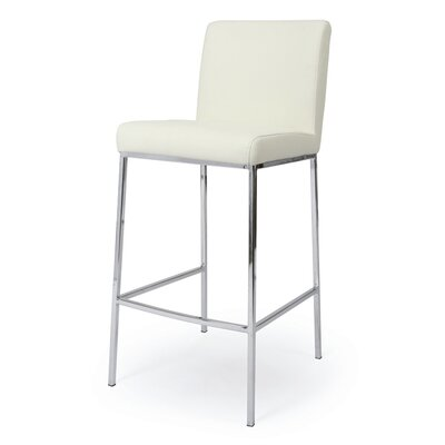"Pastel Furniture Emilia 30"" Vinyl Barstool in Ivory"
