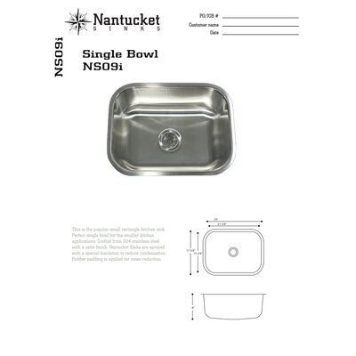 Nantucket Sinks 18 Gauge Stainless Steel Rectangle Undermount Kitchen Sink in Brushed Satin