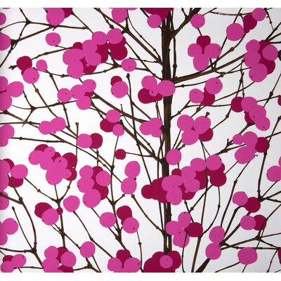 Marimekko Lumimarja Wallpaper in Pink and White by Erja Hirvi