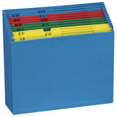 Globe Weis A-Z Desktop Project File, 12 Pockets, Letter Size, Blue
