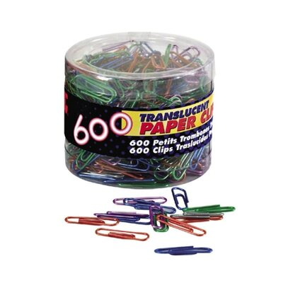 Officemate International Corp Translucent Paper Clips,Vinyl,Small,600/Tub, BE/PE/GN/RD/SR