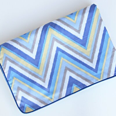 Caden Lane Ikat Chevron Blue Piped Blanket