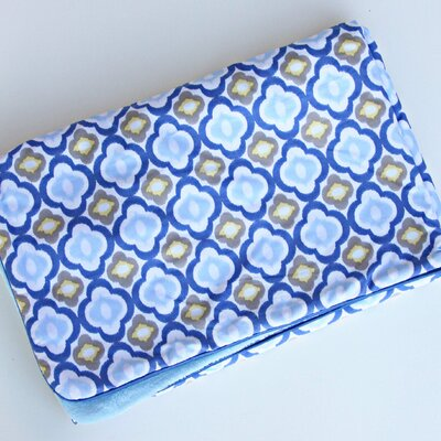 Caden Lane Ikat Mod Blue Piped Blanket