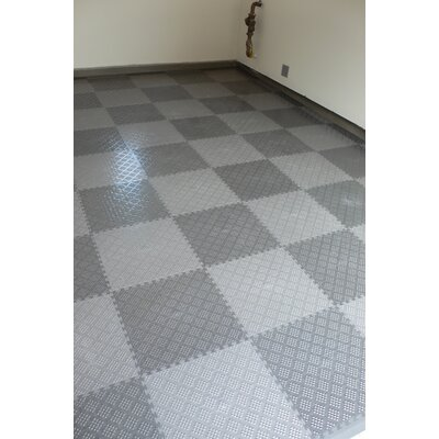 Norsk Floor Raised Diamond Pattern Garage PVC Floor Tile in Metallic Pewter (Pack of 6)