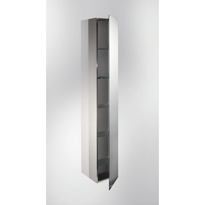 "WS Bath Collections Linea 11"" x 6.1"" Pika Bathroom Storage Cabinet in Stainless Steel"