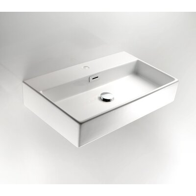 "WS Bath Collections Linea 5.1"" x 27.6"" Quarelo Wall Mount Bathroom Sink in White"