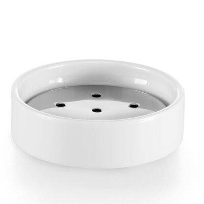 WS Bath Collections Saon White Porcelain and Stainless Steel Soap Dish