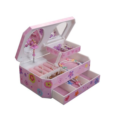 Coral Girl's Musical Ballerina Jewelry Box