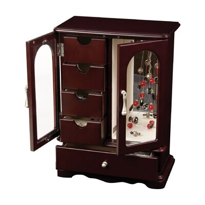 Adele Upright Glass Door Jewelry Box in Mahogany