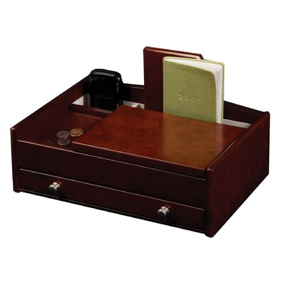 Mele & Co. Davin Men's Dresser Top Valet in Burlwood Walnut
