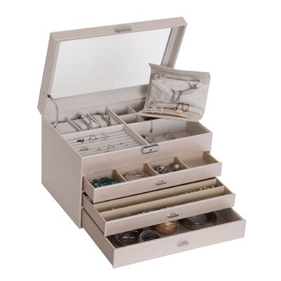 Lyndon Glass Top Locking Jewelry Box