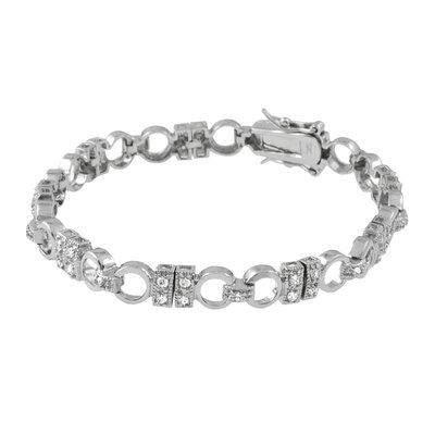 Sterling Silver Chunky Links CZ Bracelet with Secure Clasp