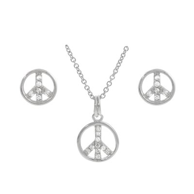 Sterling Silver CZ Peace Sign Necklace and Earring Set