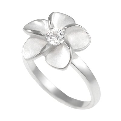 Skyline Silver Sterling Silver Plumeria Ring with CZ Center