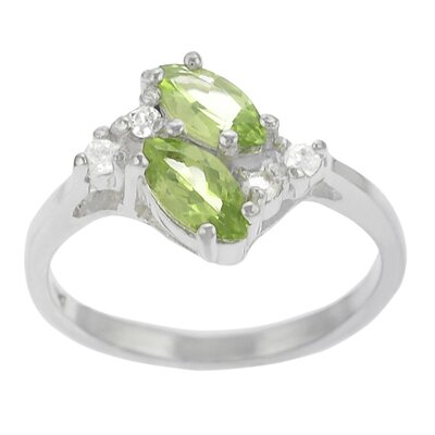 Sterling Silver and Peridot with CZ Ring