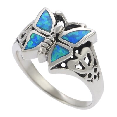 Skyline Silver Sterling Silver and Blue Opal Butterfly Ring