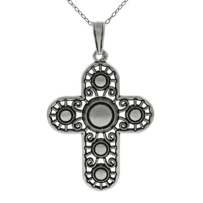 Skyline Silver Sterling Silver Vintage Cross with Round Center Necklace
