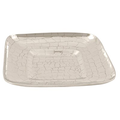 Ambiente Handmade Decorative Crocodile Skin Square Container in Bright Silver