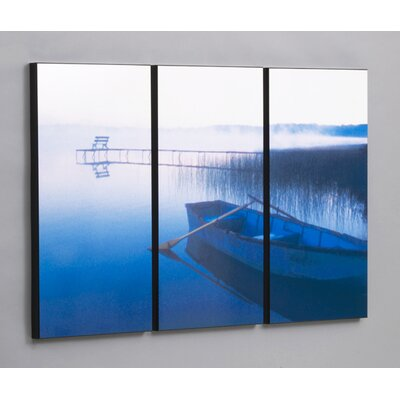 Three Piece Row Boat in Tranquility Laminated Framed Wall Art Set - 30