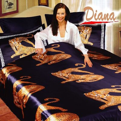 Diana 6 Piece Queen Duvet Cover Bedding Set in Black