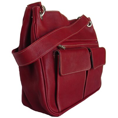Piel Leather Shoulder Bag with Front Pockets