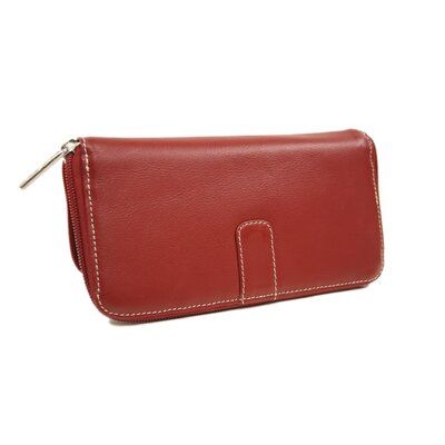 Piel Leather Women's Zip Around Wallet in Red