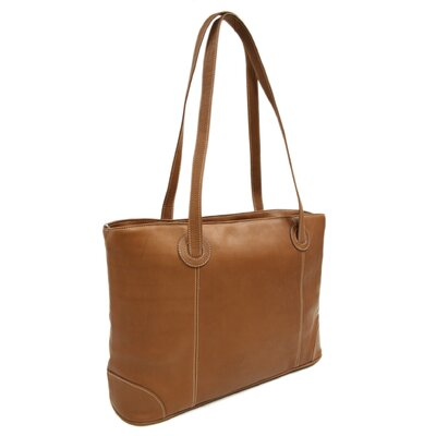 Piel Leather Ladies Computer Tote in Saddle