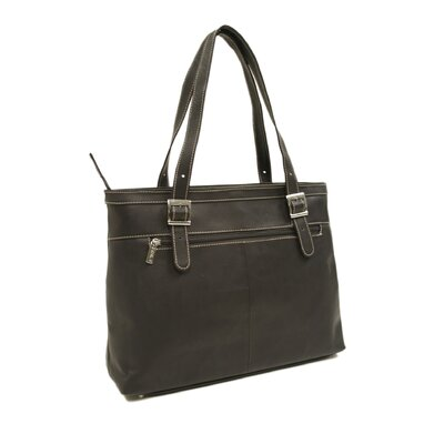 Piel Leather Ladies Laptop Tote in Chocolate