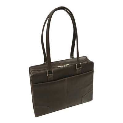 Piel Leather Women's Hard Side Shoulder Tote in Chocolate